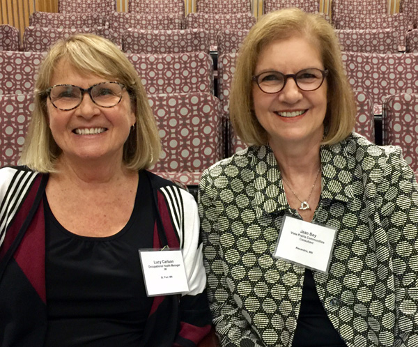 OEHN Program Alumni Lucy Carson,RN, MPH/MS, COHN-SHiCM | Occupational Health Manager, 3M Medical Department and Jean Bey MPH, RN, COHN-S, CCM, FAAOHN, Board of Directors, VistaPrarie Communities, enjoy catching up at the Annual National Occupational Research Agenda (NORA) Symposium, May 2017.