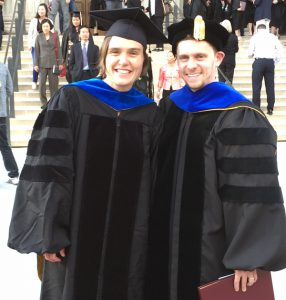 Catherine Grave, PhD, MPH (OEHN Program) and Ryan Klien, MS, PhD (OHSRP Program) celebrate their graduation, May 2016.